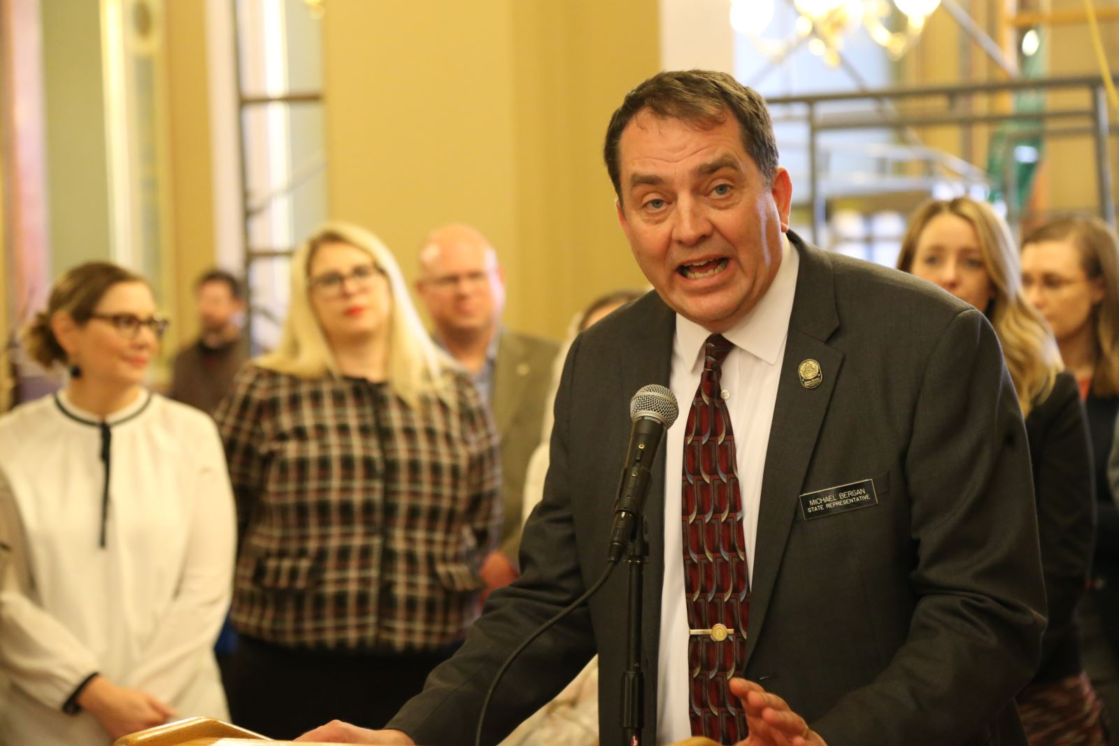 Rep. Michael Bergan speaks at Enviro Lobby Day 2020